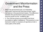 government misinformation and the press72
