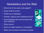 newsletters and the web