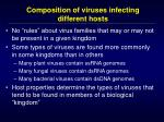 composition of viruses infecting different hosts