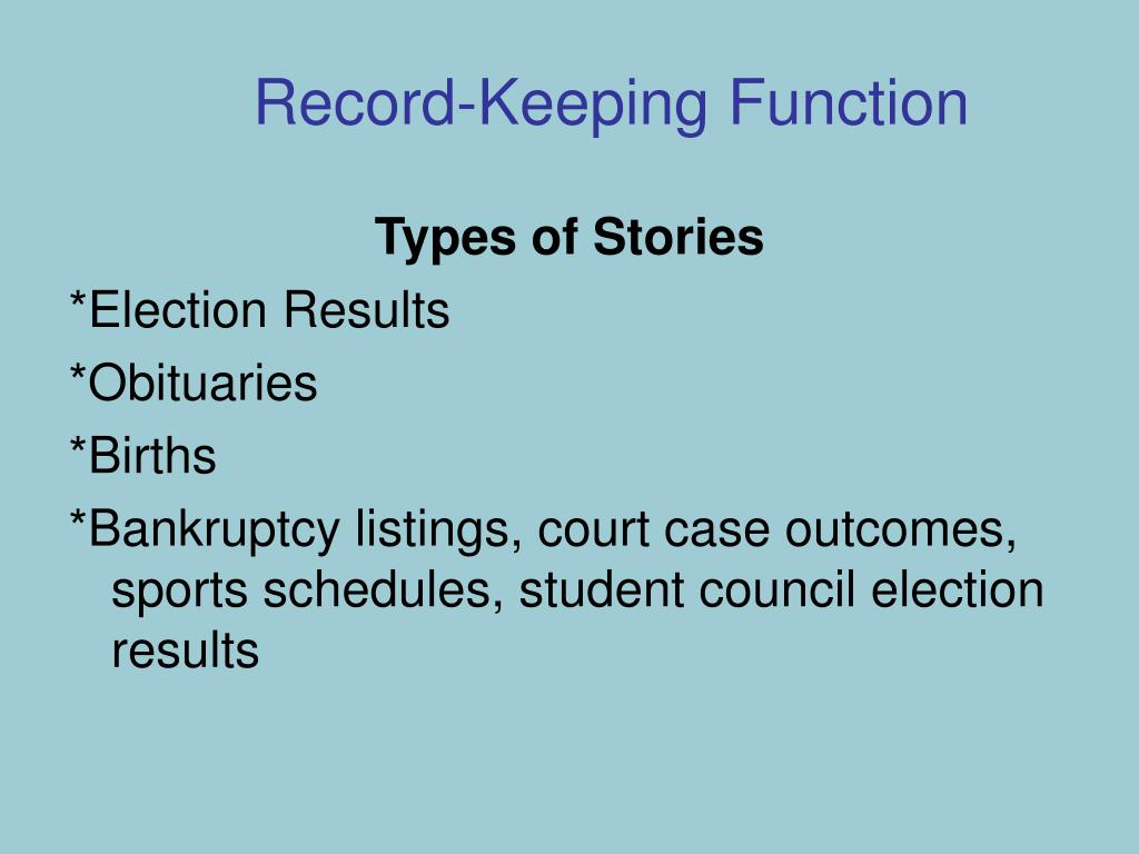 Record-Keeping Function