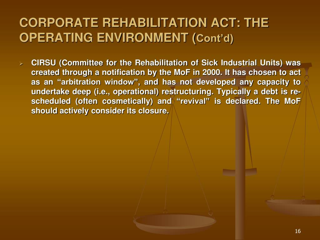 CORPORATE REHABILITATION ACT: THE OPERATING ENVIRONMENT (