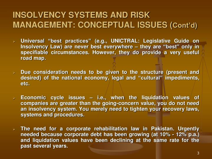Insolvency systems and risk management conceptual issues cont d