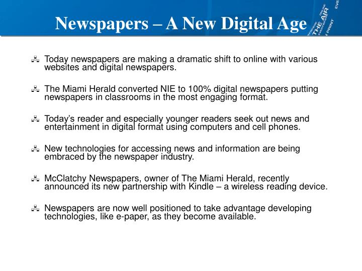Newspapers a new digital age