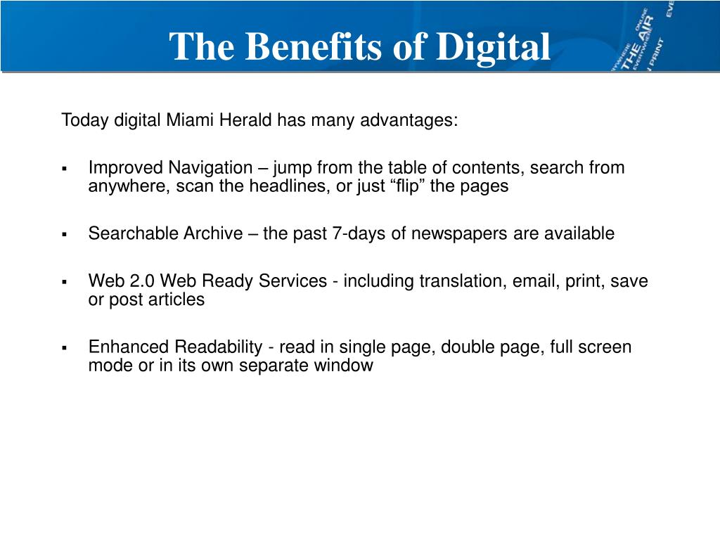 The Benefits of Digital