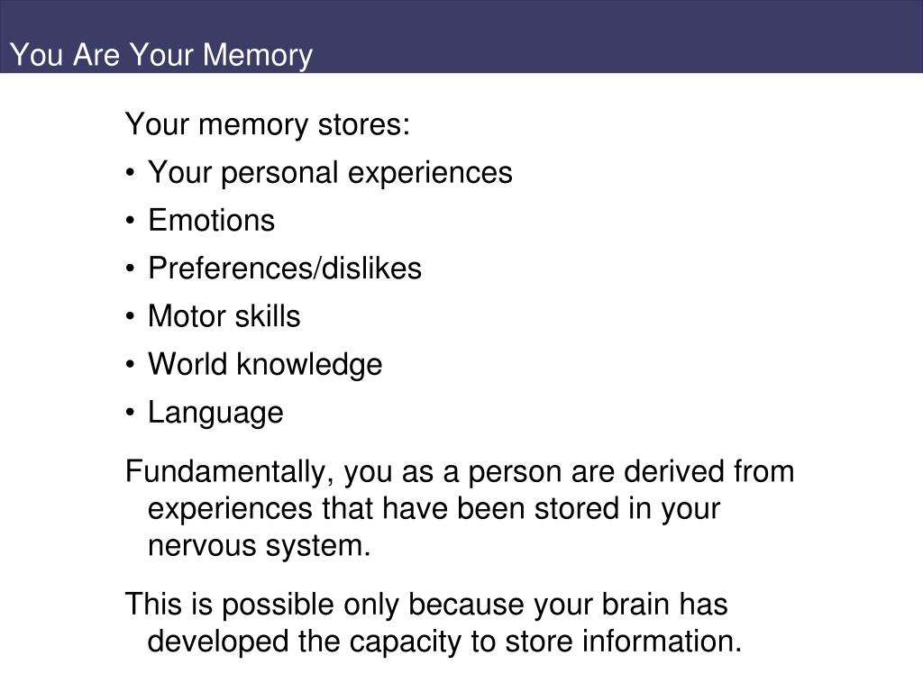 you are your memory l.