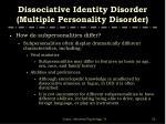 dissociative identity disorder multiple personality disorder55