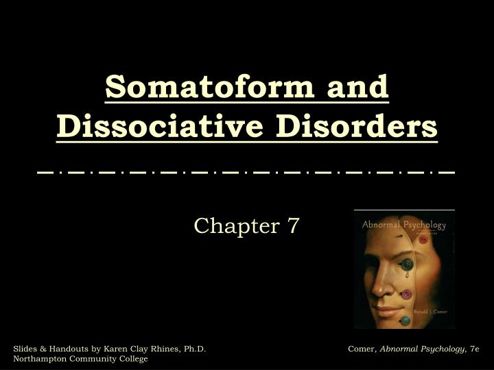 somatoform and dissociative disorders n.