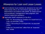 allowance for loan and lease losses