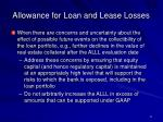 allowance for loan and lease losses11