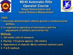 m249 automatic rifle operator course range determination and lateral distance measurement