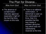 the plan for divorce