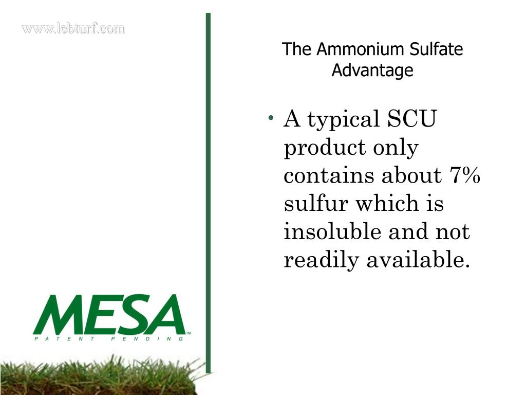 A typical SCU product only contains about 7% sulfur which is insoluble and not readily available.