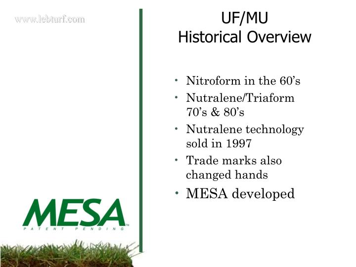 Uf mu historical overview