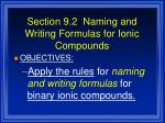 section 9 2 naming and writing formulas for ionic compounds