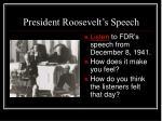 president roosevelt s speech