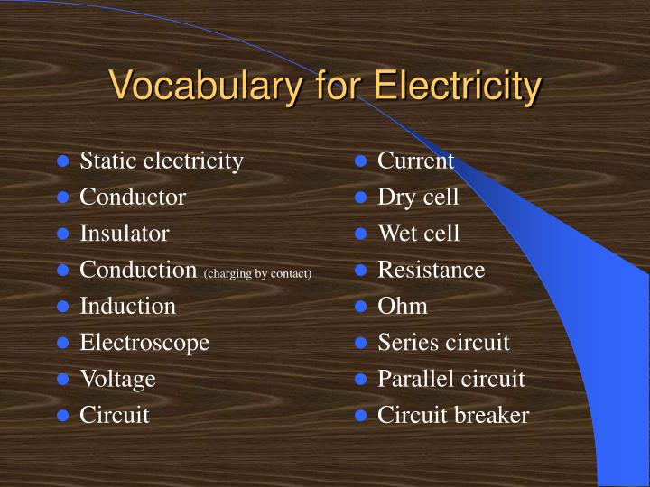 Vocabulary for electricity