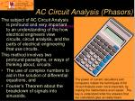 ac circuit analysis phasors