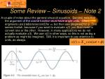 some review sinusoids note 2