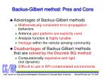 backus gilbert method pros and cons