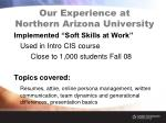 our experience at northern arizona university