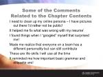 some of the comments related to the chapter contents