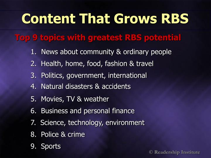 Content That Grows RBS