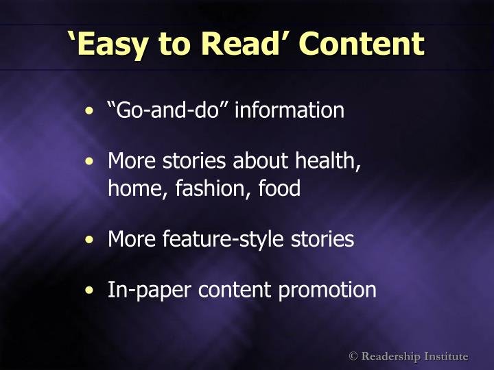 'Easy to Read' Content