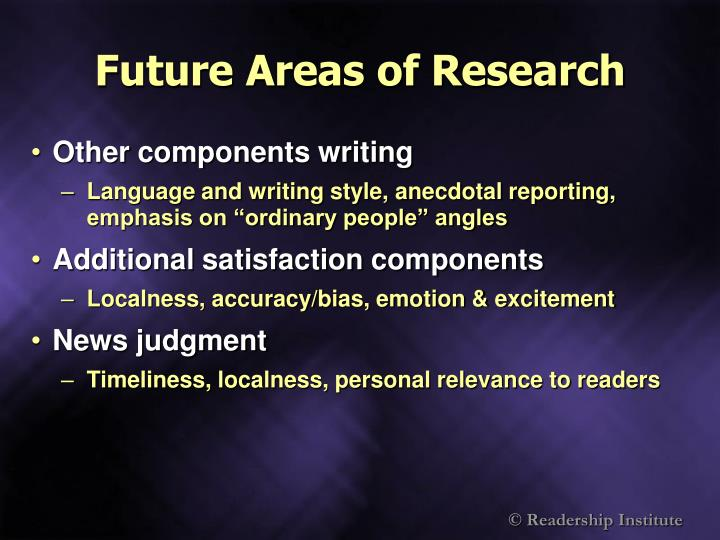 Future Areas of Research