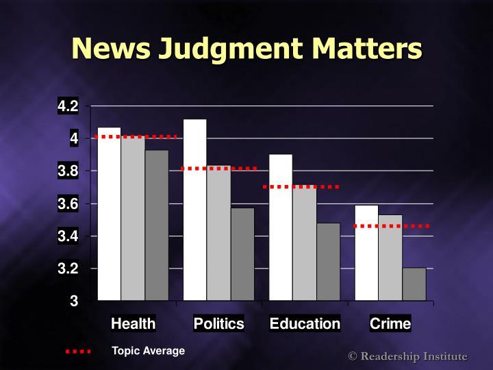 News Judgment Matters