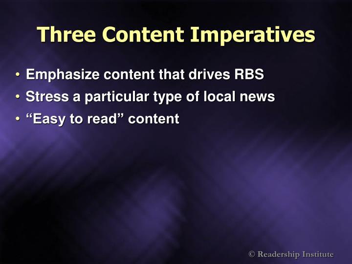 Three Content Imperatives