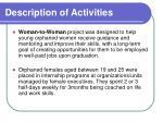 description of activities