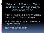 evidence of new york times and wire service agendas on other news media