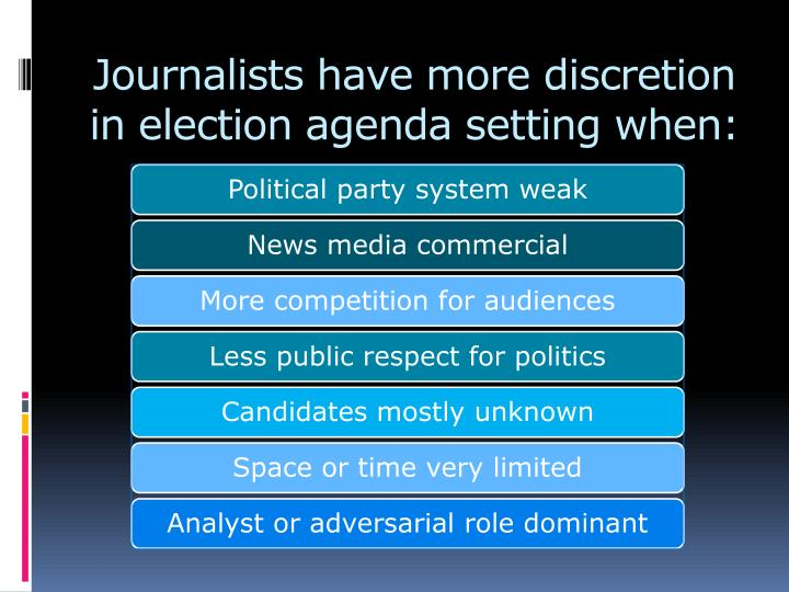 Journalists have more discretion in election agenda setting when: