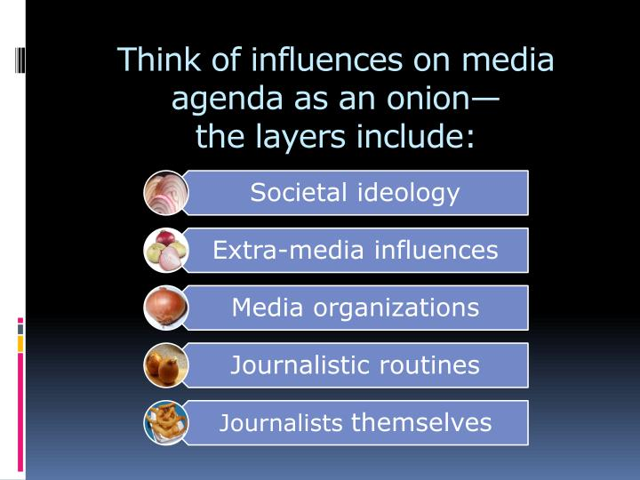 Think of influences on media agenda as an onion the layers include