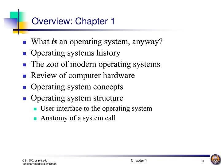 Overview chapter 1