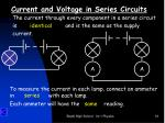 current and voltage in series circuits