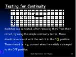 testing for continuity1