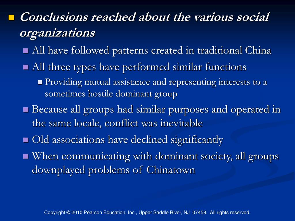 Conclusions reached about the various social organizations