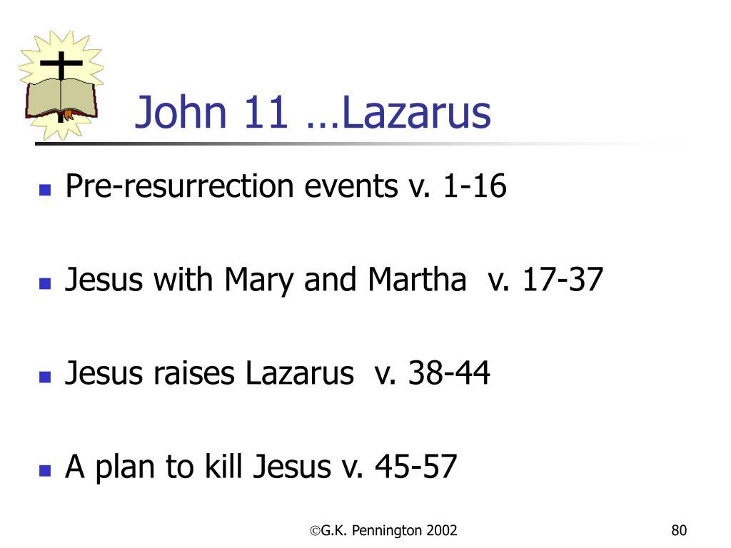 John 11 …Lazarus