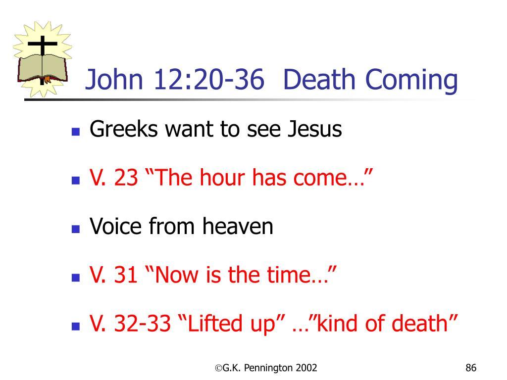 John 12:20-36  Death Coming