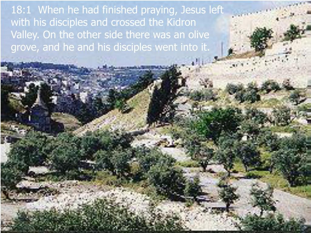 18:1  When he had finished praying, Jesus left with his disciples and crossed the Kidron Valley. On the other side there was an olive grove, and he and his disciples went into it.