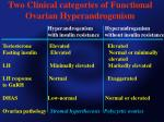 two clinical categories of functional ovarian hyperandrogenism