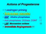 actions of progesterone