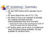 nt screening summary
