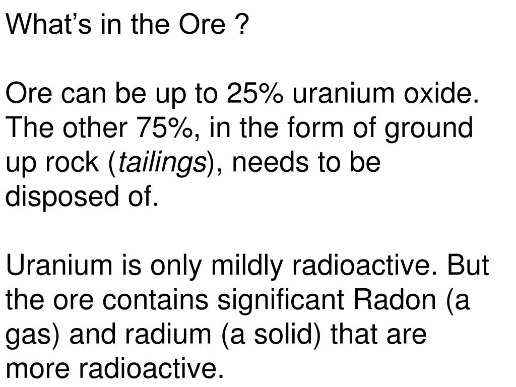 What's in the Ore ?