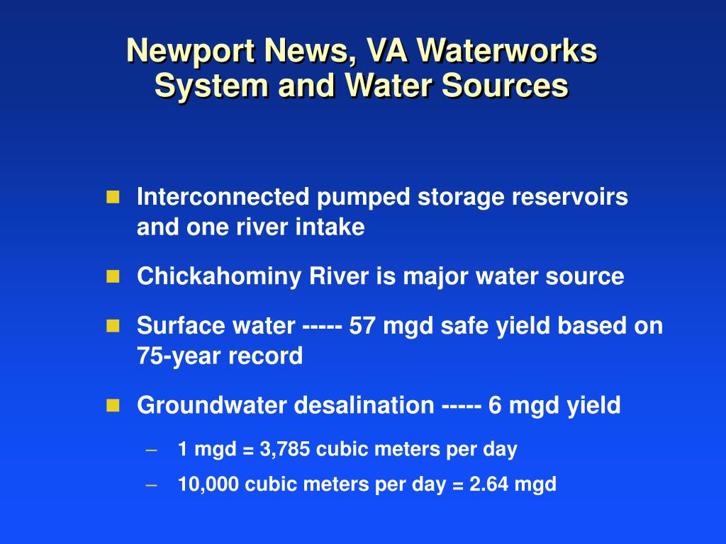 Newport News, VA Waterworks System and Water Sources