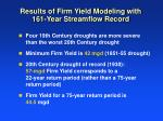 results of firm yield modeling with 161 year streamflow record