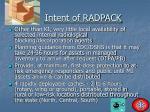 intent of radpack