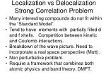 localization vs delocalization strong correlation problem