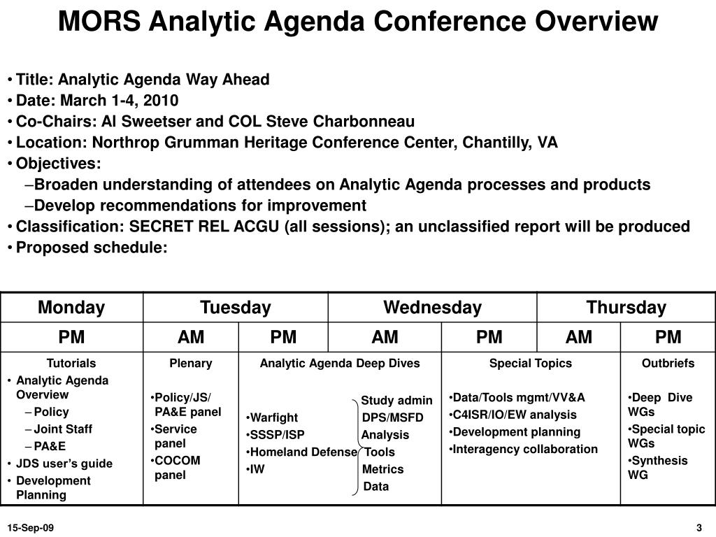 MORS Analytic Agenda Conference Overview
